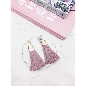 Charlotte   Pink Mauve Gold Fringe Tassel Earrings